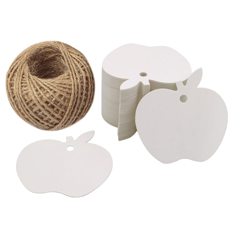 Apple Kraft Gift Tags 100 PCS Wedding Party Favor Tags with 100 Feet Natural Jute Twine - JijaCraft