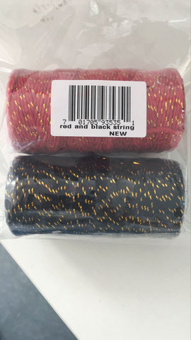 100 M Red&Gold String and 100 M Black&Gold,2MM Christmas Cotton Twine - JijaCraft