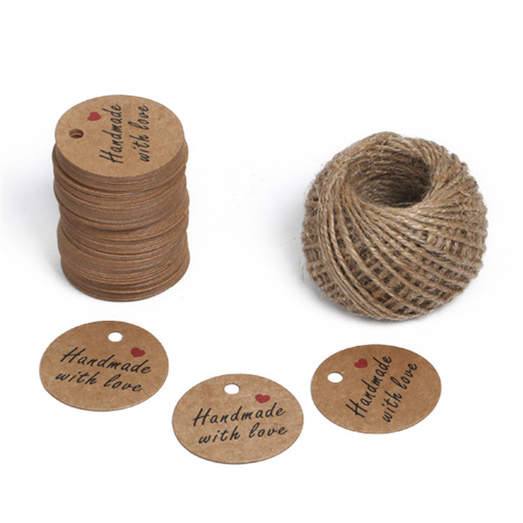 "Gift Tags""Handmade with love"" 5 CM Round Tags 100 PCS Kraft Hang Tags with 100 Feet Natural Jute Twine Perfect for DIY&Craft and Birthday Party - JijaCraft"