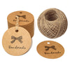 100 PCS HANDMADE Tags Kraft Paper Hang Tags 5 CM Round Tags Craft Gift Tags with 100 Feet Natural Jute Twine - JijaCraft