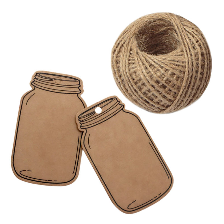 Mason Jar Shaped Tags,100PCS Mini Kraft Paper Gift Tags,Craft Card Tag,Gift Wrap Tags,Creative Blank Craft Paper Label DIY Hang Tags with 100 Feet Twine (7.5x4.5cm Brown) - JijaCraft