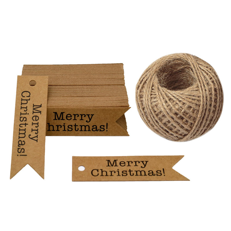 Merry Christmas Tags, 100 PCS Kraft Paper Gift Tags with 100 Feet Natural Jute Twine Perfect for DIY Arts and Crafts - JijaCraft
