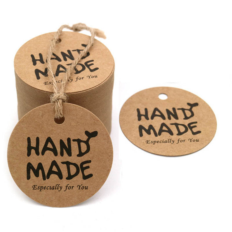 500pcs Yoget 1.25 x 2 Inch Natural Kraft Gift Tags Sticker Easy to Write and Apply Name Tags Stickers DIY Seals Roll