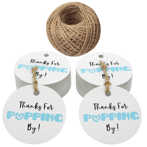 Original Design Baby Shower Tags,Thanks for Popping by Gift Tags,5cm Round Blue Tags,100PCS Paper Tags for Wedding Party Favors with 100 Feet Jute Twine - JijaCraft