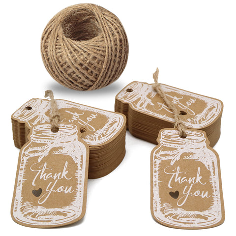 "Thank You Tags,Mason Jar Tags,100PCS Kraft Paper Gift Tags with 100 Feet Jute Twine,3""x1.8""Vintage Style White Tags for DIY Craft Party Favors - JijaCraft"