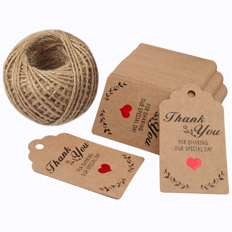100 PCS Thank You Tags,Valentine's Day Tags,''Thank You for Sharing Our Special Day''Printed Kraft Hang Tags with 100 Feet Jute Twine - JijaCraft