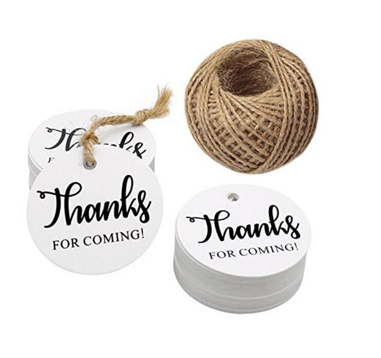 Thanks for Coming Tags 100 PCS Round Tags,Kraft Paper Gift Tags with 100 Feet Natural Jute Twine Perfect for Baby Shower,Wedding Party Favor - JijaCraft