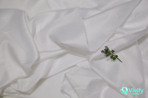 Recycled Polyester Satin Fabric Bright White Matt