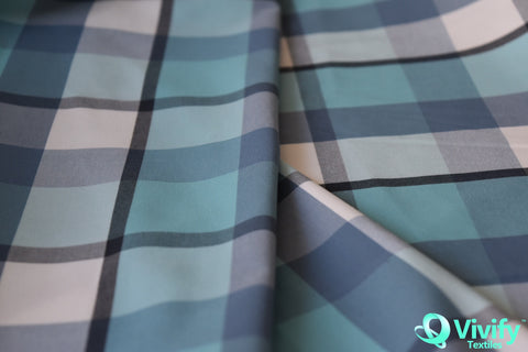 Nylon Check poplin with Wicking & UV protection - Vivify Textiles