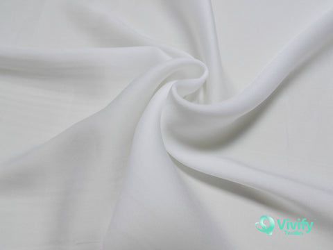 Recycled Polyester French Chiffon White