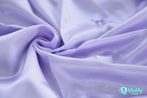 Recycled Polyester Satin Fabric Purple Shiny