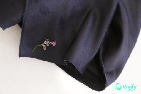 N 2019 Recycled Polyester Suede Fabric Black - Vivify Textiles