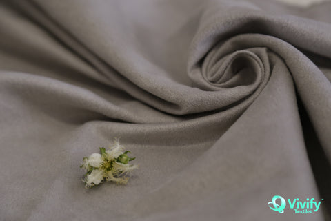 Recycled Polyester Suede Fabric Silver - Vivify Textiles