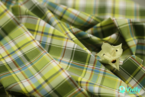 Organic Cotton Check Poplin with Cire - Vivify Textiles