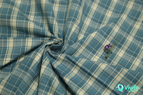 Organic Cotton Check Poplin with Wicking - Vivify Textiles