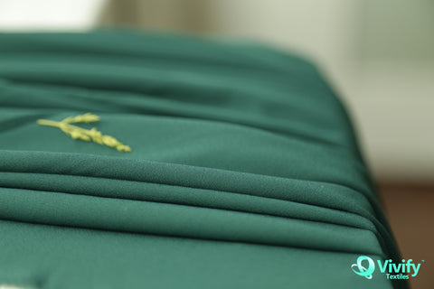 Recycled Polyester Mess Chiffon Dark Green - Vivify Textiles