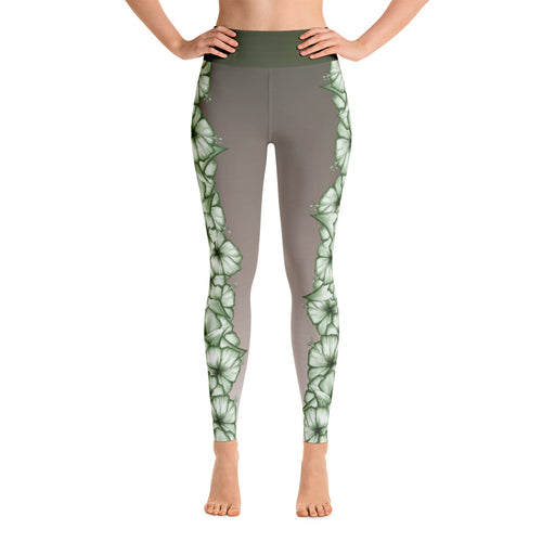 Climbing Hibiscus Yoga Leggings- White/Green Hibiscus on Faded Driftwood