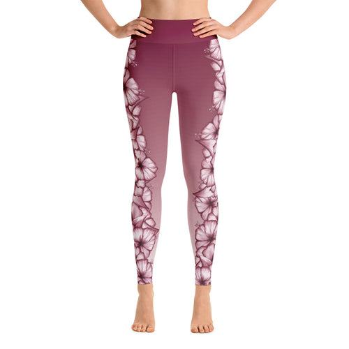 Climbing Hibiscus Yoga Leggings- White Hibiscus on Faded Rosewood
