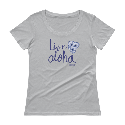 Live Aloha Hibiscus Scoopneck Tee- Multiple Colors