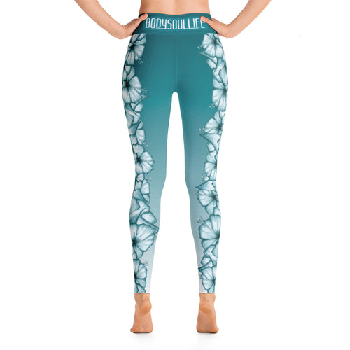 Climbing Hibiscus Yoga Leggings- White Hibiscus on Faded Azure