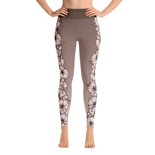 Climbing Hibiscus Yoga Leggings- White Hibiscus on Faded Driftwood