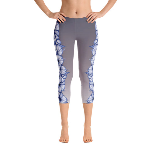 Climbing Hibiscus Capri Yoga Leggings- White/Purple Hibiscus on Faded Slate
