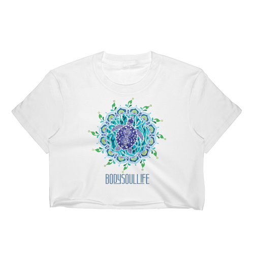 BSL Artist Collection- Mandala Turtle Yoga Crop Tee