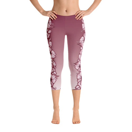 Climbing Hibiscus Capri Yoga Leggings- White Hibiscus on Faded Rosewood