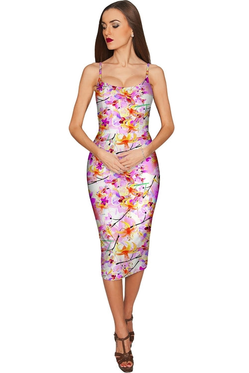 In Love Olivia Pink Bodycon Party Floral Dress -