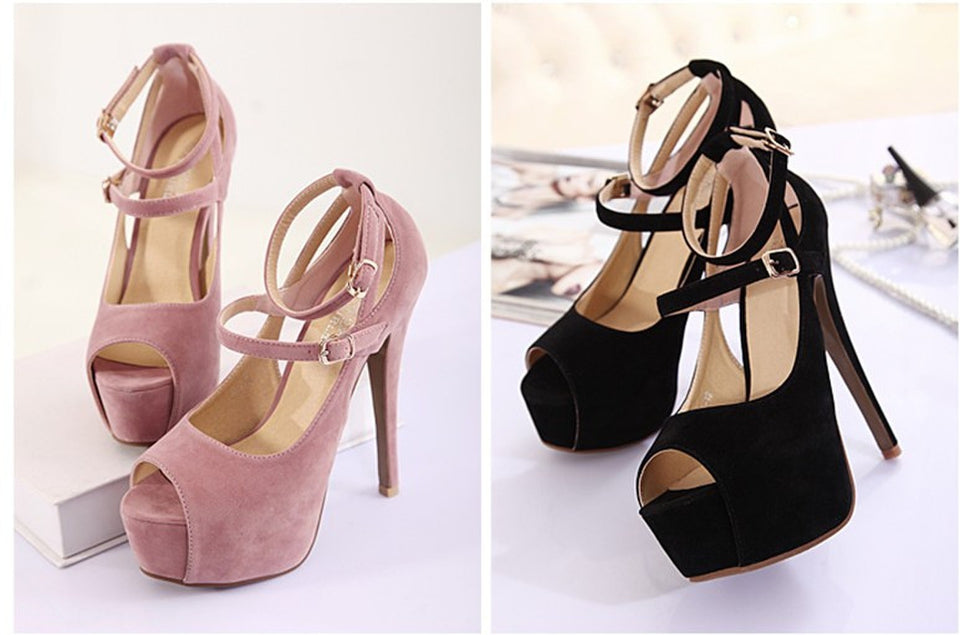 Women's Sexy pink Glitter Platform Open Toe Shoes High Heel