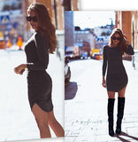 Women Long Sleeve O-neck Sexy Dress Slim Bodycon Dress Dark gray / XS