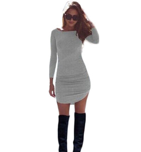 Women Long Sleeve O-neck Sexy Dress Slim Bodycon Dress Grey / XS