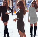 Women Long Sleeve O-neck Sexy Dress Slim Bodycon Dress