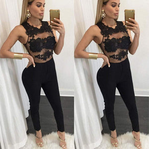 Sexy Women Elegant See-through Lace Patchwork Embroidery Body Mesh Bodycon Jumpsuit Clubwear