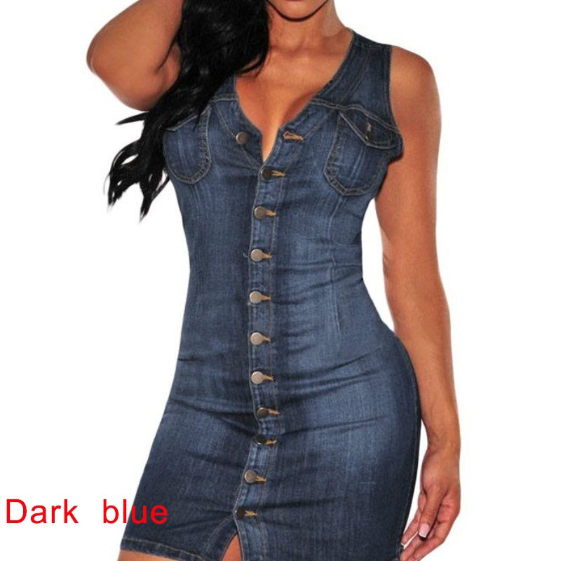 Party Button Down Sleeveless Summer Denim Dress