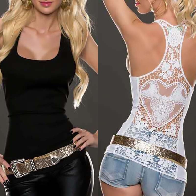Summer Sexy Lace Vest Top Sleeveless Shirt Blouse Casual Tank Tops T-Shirt
