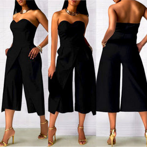 Ladies Clubwear Summer Strapless Playsuit Bodycon Party Jumpsuit Black / S