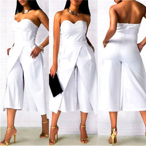 Ladies Clubwear Summer Strapless Playsuit Bodycon Party Jumpsuit White / M