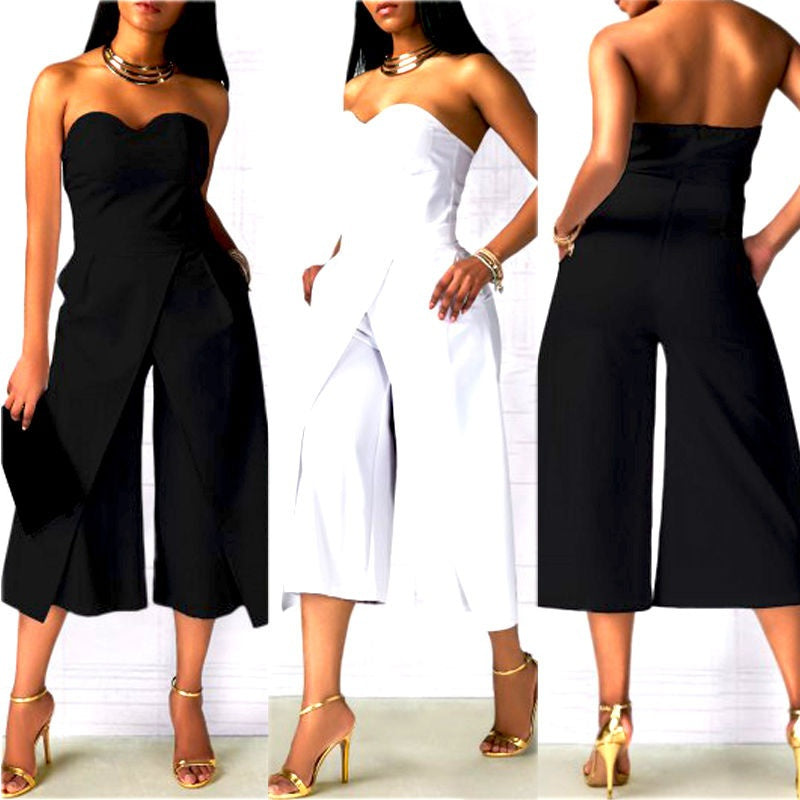 Ladies Clubwear Summer Strapless Playsuit Bodycon Party Jumpsuit