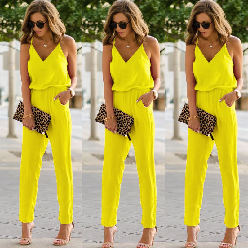 Womens Casual spaghetti strap Bodycon Romper Jumpsuit Club Bodysuit Long Pants Yellow / S
