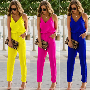 Womens Casual spaghetti strap Bodycon Romper Jumpsuit Club Bodysuit Long Pants