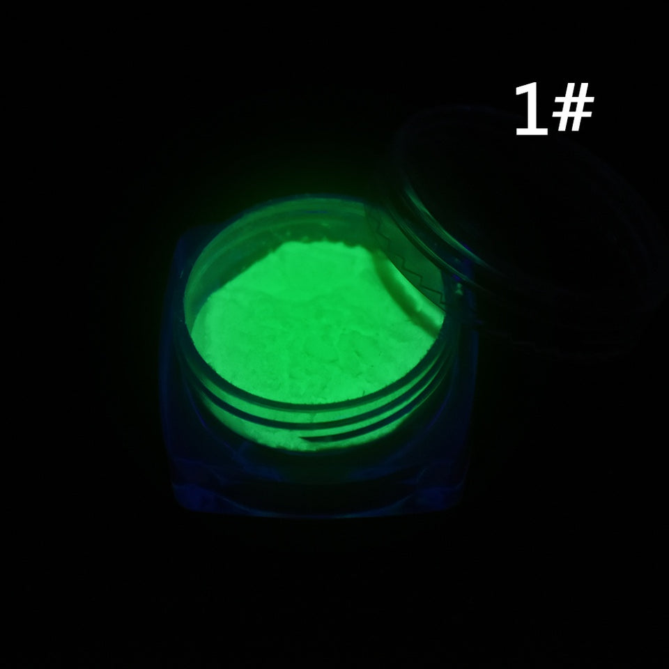 Neon Colors Phosphorescent FLUORESCENT Powder Glow In Dark Nail Art Acrylic 1