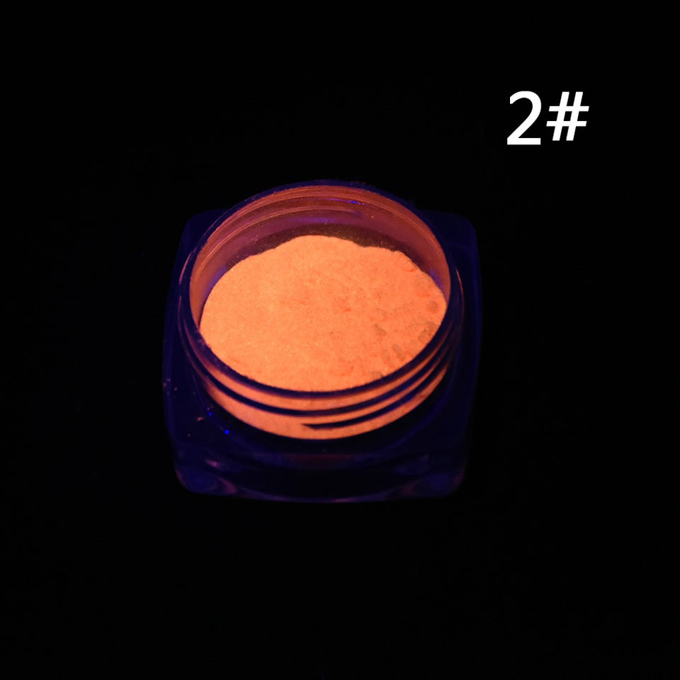 Neon Colors Phosphorescent FLUORESCENT Powder Glow In Dark Nail Art Acrylic 2