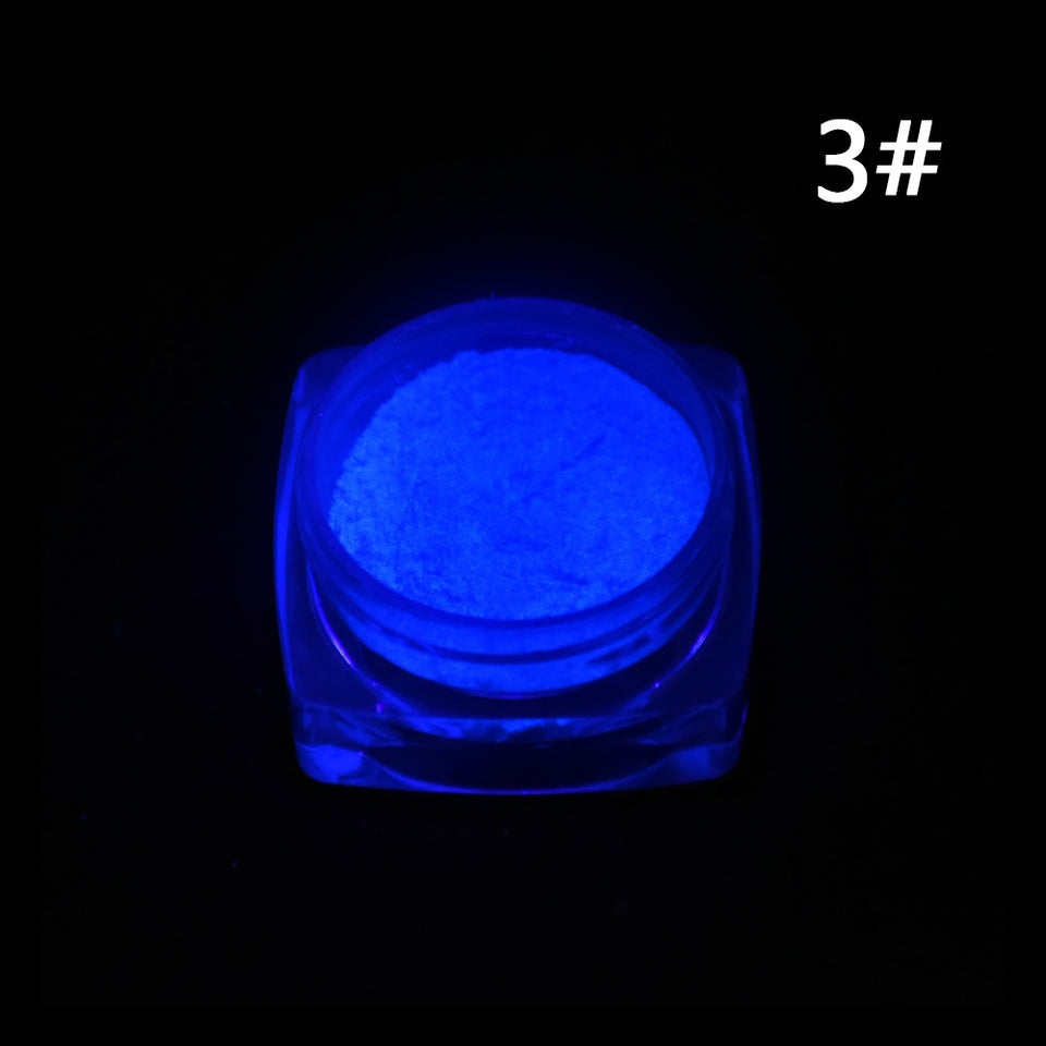 Neon Colors Phosphorescent FLUORESCENT Powder Glow In Dark Nail Art Acrylic 3