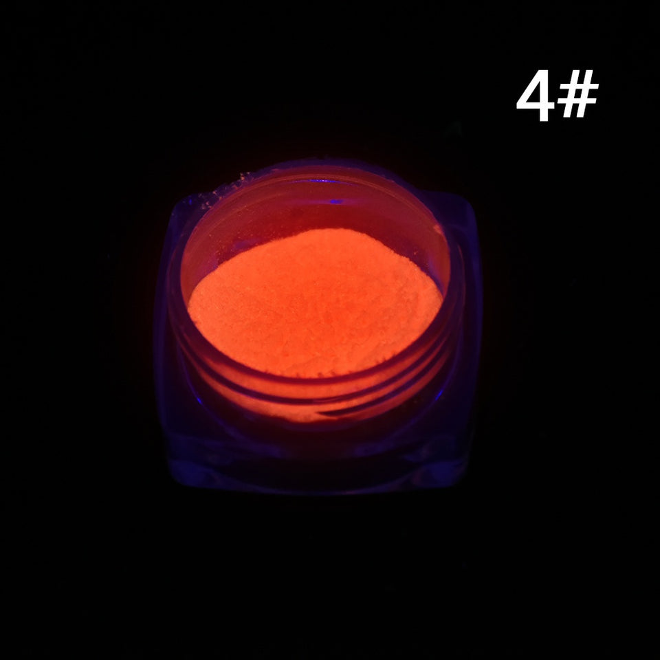Neon Colors Phosphorescent FLUORESCENT Powder Glow In Dark Nail Art Acrylic 4