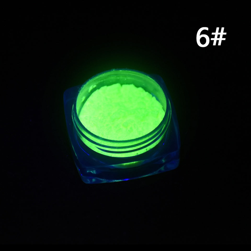 Neon Colors Phosphorescent FLUORESCENT Powder Glow In Dark Nail Art Acrylic 6