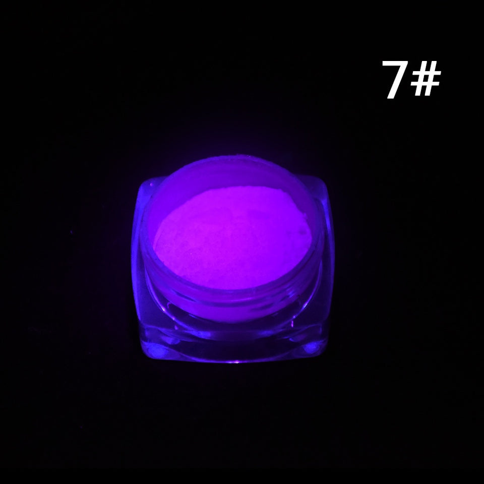 Neon Colors Phosphorescent FLUORESCENT Powder Glow In Dark Nail Art Acrylic 7