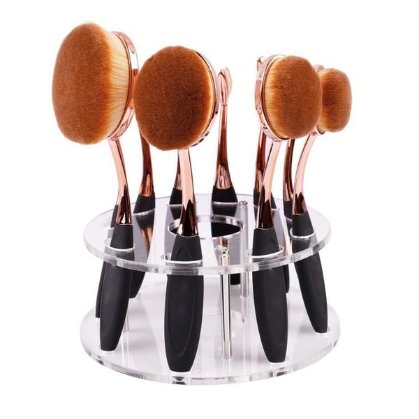 10 Popular Hole Oval Makeup Brush Holder Drying Rack Organizer Cosmetic Shelf Tool Best