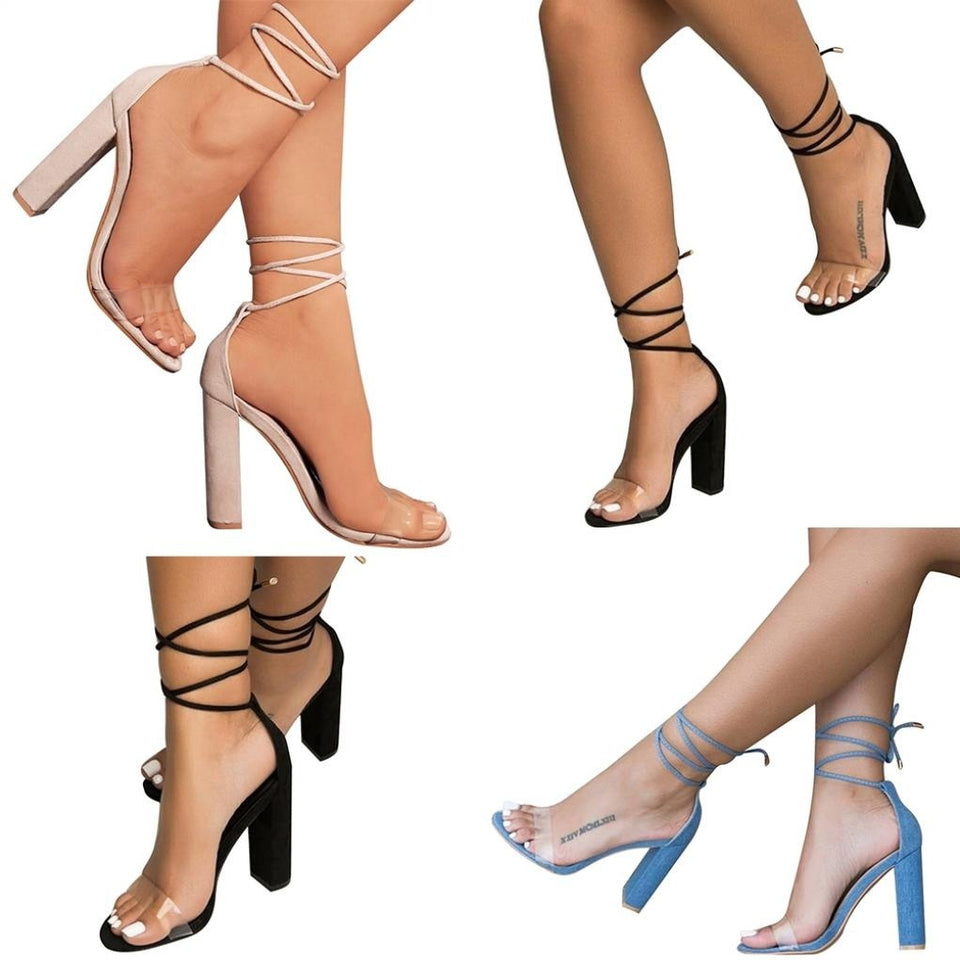 Summer Clear Single Band Ankle Straps Bandage High-heeled Shoes Women Sandals