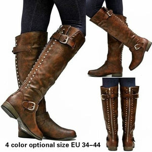 Leather Zipper High Heels Boots Rivet